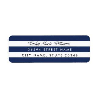 Chic Navy Striped Address Labels