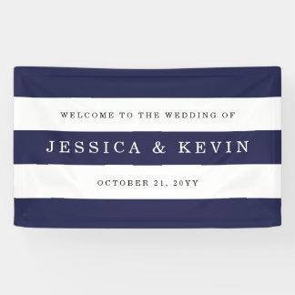 Chic Navy Stripes Wedding Banner