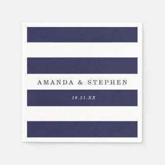 Chic Navy Stripes Wedding Paper Napkin