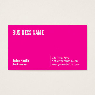 Chic Neon Pink Bookkeeper Business Card