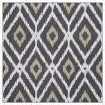 Chic neutral black beige ikat diamond pattern fabric