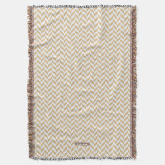 Chic neutral gold white geometric zigzag pattern throw blanket