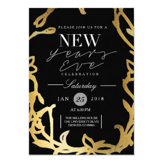Chic New Years Eve Party | Gold Floral Card