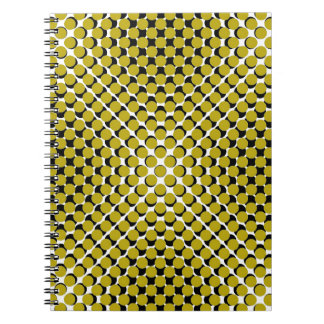 CHIC NOTEBOOK-COOL GOLD ON BLACK DOTS ON WHITE NOTE BOOK