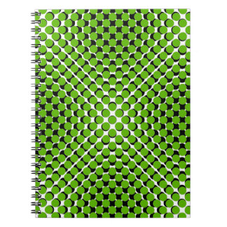 CHIC NOTEBOOK-COOL GREEN ON BLACK DOTS ON WHITE NOTE BOOK