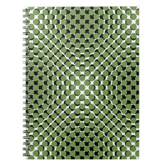 CHIC NOTEBOOK-COOL GREEN ON BLACK DOTS ON WHITE SPIRAL NOTE BOOKS