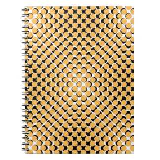 CHIC NOTEBOOK-COOL MERIGOLD ON BLACK DOTS ON WHITE NOTE BOOKS