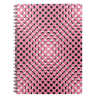 CHIC NOTEBOOK-COOL PINK ON BLACK DOTS ON WHITE NOTEBOOK