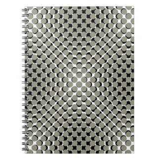CHIC NOTEBOOK-COOL TAUPE ON BLACK DOTS ON WHITE NOTE BOOK