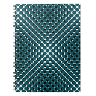 CHIC NOTEBOOK-COOL TEAL ON BLACK DOTS ON WHITE NOTEBOOKS