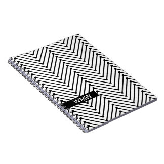 CHIC NOTEBOOK- MODERN WHITE/BLACK ZIGZAG NOTE BOOKS
