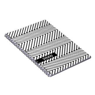 CHIC NOTEBOOK- MODERN WHITE/BLACK ZIGZAG SPIRAL NOTE BOOK