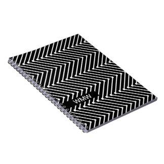 CHIC NOTEBOOK- MODERN WHITE/BLACK ZIGZAG SPIRAL NOTE BOOKS