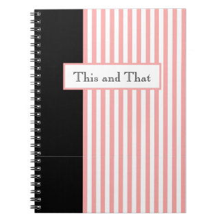 CHIC NOTEBOOK_PINK/WHITE STRIPES ON WHITE NOTEBOOKS