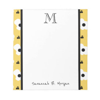 CHIC NOTEPAD_MOD WHITE & BLACK FLORAL ON YELLOW NOTEPAD