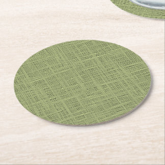 Chic Olive Green Faux Jute Weave Fabric Pattern Round Paper Coaster