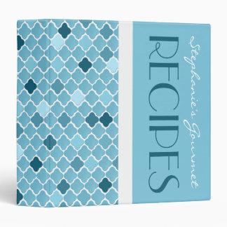 Chic Ombre Quatrefoil Pattern Recipe Binder - Blue