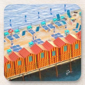 Chic Orange and Blue Cabanas Beach Style Coaster