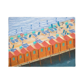 Chic Orange and Blue Cabanas Beach Style Doormat