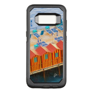 Chic Orange and Blue Cabanas Beach Style OtterBox Commuter Samsung Galaxy S8 Case