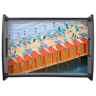 Chic Orange and Blue Cabanas Beach Style Serving Tray