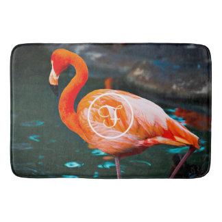 Chic orange pink flamingo photo custom monogram bath mat