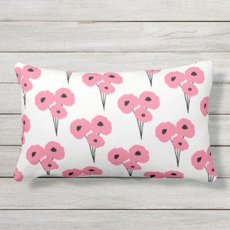 CHIC OUTDOOR PILLOW_MOD PINK & BLACK POPPIES LUMBAR PILLOW