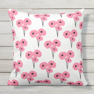 CHIC OUTDOOR PILLOW_MOD PINK & BLACK POPPIES THROW PILLOW