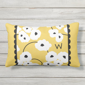 CHIC OUTDOOR PILLOW_MOD WHITE & BLACK POPPIES LUMBAR PILLOW