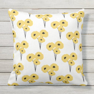 CHIC OUTDOOR PILLOW_MOD YELLOW & BLACK POPPIES THROW PILLOW