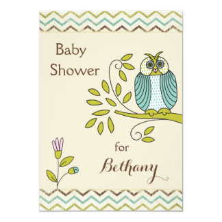 "Chic Owl Chevrons Baby Shower 5"" X 7"" Invitation Card"