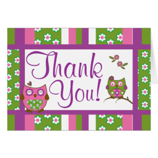 Chic Owls Baby Shower Thank You Note Cards