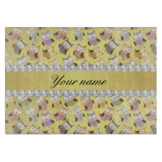 Chic Owls Faux Gold Foil Bling Diamonds Boards
