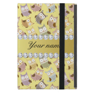 Chic Owls Faux Gold Foil Bling Diamonds Cover For iPad Mini