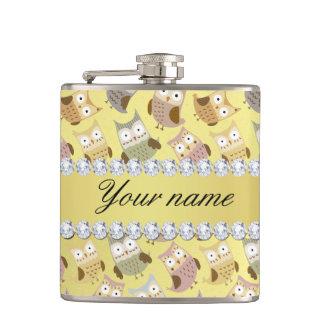Chic Owls Faux Gold Foil Bling Diamonds Hip Flask