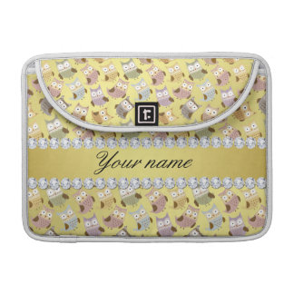 Chic Owls Faux Gold Foil Bling Diamonds MacBook Pro Sleeves