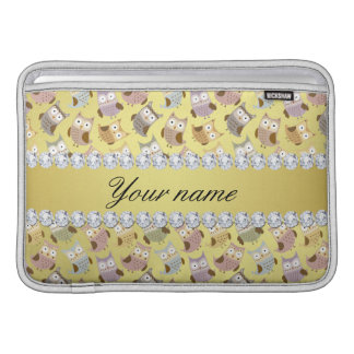 Chic Owls Faux Gold Foil Bling Diamonds MacBook Sleeve