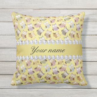 Chic Owls Faux Gold Foil Bling Diamonds Throw Pillow
