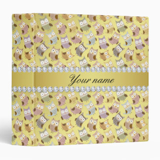 Chic Owls Faux Gold Foil Bling Diamonds Vinyl Binder