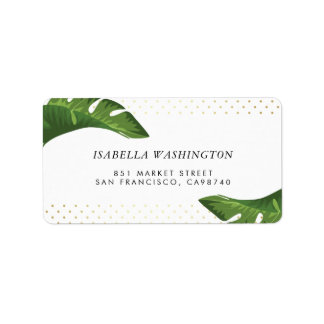 Chic Palm Leaves Tropical Wedding Address