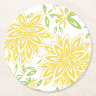 CHIC PAPER COASTER_PRETTY BUTTER YELLOW FLORAL ROUND PAPER COASTER