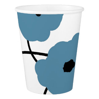 CHIC PAPER CUP_MOD BLUE & BLACK POPPIES PAPER CUP