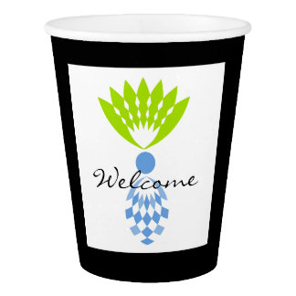 "CHIC PAPER CUP_TROPICAL ""WELCOME"" BLUE PINEAPPLE PAPER CUP"