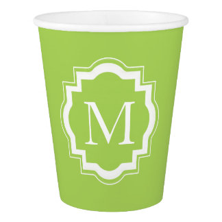 CHIC PAPER CUPS_60 GREEN SOLID/MONOGRAM PAPER CUP