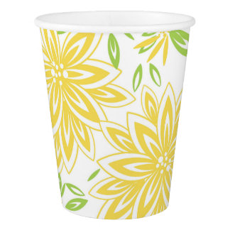 CHIC PAPER CUPS_LOVELY 33 BUTTER/GREEN FLORAL PAPER CUP