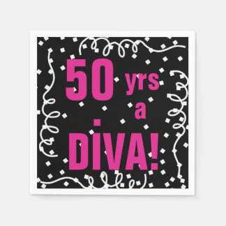 CHIC PAPER NAPKIN_50 yrs a DIVA!_ BIRTHDAY! DIY Disposable Napkins