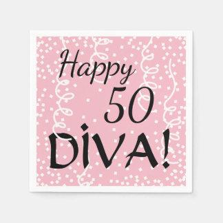 "CHIC PAPER NAPKIN_ ""Happpy 50 Diva!"" BIRTHDAY, DIY Paper Napkin"