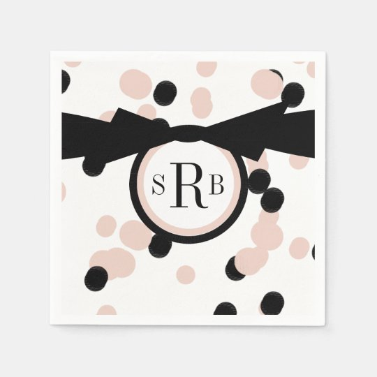 CHIC PAPER NAPKIN_MODERN,GIRLY PINK/BLACK DOTS DISPOSABLE NAPKINS