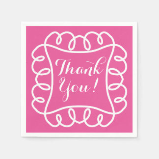 """CHIC PAPER NAPKIN_""""Thank You!"""" WHITE/HOT PINK Disposable Napkins"""