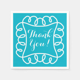 "CHIC PAPER NAPKIN_""Thank You!"" WHITE/TURQUOISE Paper Napkin"